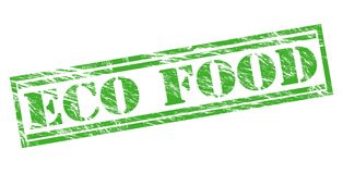 Eco food green stamp Stock Photos