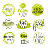 Eco Food Lables Set. Eco Food Green Lables. Vector Illustration Collection Vector Illustration