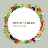 Eco food menu with cartoon vegetables. Vector emblem for organic shop healthy or vegetarian cafe Stock Photo