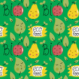 Eco food seamless pattern with fruit characters Stock Images