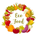 Eco food typographic poster with round decorative frame composed of vegetables vector illustration Stock Photos