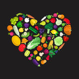 Eco food vector flat icons forming heart shape. I love vegetable Stock Images