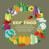 Eco food (vegetables) template with space for your text (+ EPS 10) Stock Images