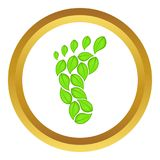 Eco footprint icon. In golden circle, cartoon style isolated on white background vector illustration