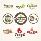 Eco and fresh food paper stickers Stock Photos