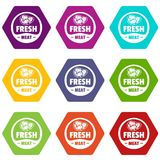 Eco fresh meat icons set 9 vector. Eco fresh meat icons 9 set coloful isolated on white for web Royalty Free Stock Photos