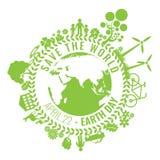 Eco freundlich, grünes Energiekonzept, Vektorillustration Umweltslogans, Sprechen und Phrasen über die Erde, die Natur und das ge Lizenzfreies Stockfoto