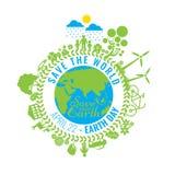 Eco freundlich, grünes Energiekonzept, Vektorillustration Umweltslogans, Sprechen und Phrasen über die Erde, die Natur und das ge Stockfotografie