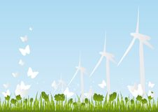 Eco-Friendly Background. Wind Energy Windmills Royalty Free Stock Photo