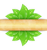 Eco friendly background with green leaves. Illustration eco friendly background with green leaves, wooden texture - vector Royalty Free Stock Photos