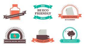 Eco Friendly badges. Retro styled environmentally friendly emblems. They feature an eco friendly ink bottle, a rechargable battery, a printer, a tree with birds Royalty Free Stock Photography