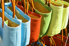Eco friendly bags. Close up shot of eco friendly brightly coloured shopping bags Stock Photo