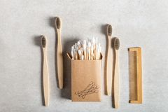 Eco Friendly Bamboo Toothbrushes, Bamboo Hair Comb and Plastic Free cotton buds stock image