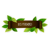 Eco friendly banner, ribbon with leaves, vector illustrati Royalty Free Stock Images