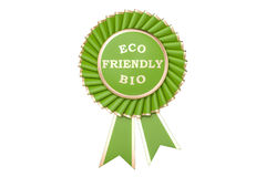 Eco friendly bio award, prize, medal or badge with ribbons. 3D r Stock Photography