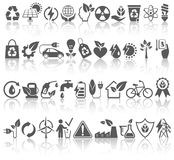 Eco Friendly Bio Green Energy Sources Black Icons Signs Set with Royalty Free Stock Image