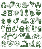 Eco Friendly Bio Green Energy Sources Icons Signs Set Isolated o Stock Photos
