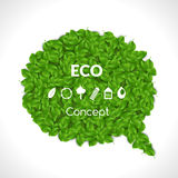 Eco Friendly Bubble for speech, Green leaves. Set of eco icons. Vector illustration. Stock Image