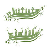 Eco friendly building. Ecological village with houses and trees Royalty Free Stock Photography