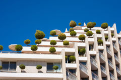Eco-friendly building with orange trees Stock Image