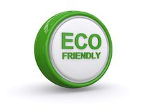 Eco friendly button. White and green eco friendly icon, button or logo isolated on white background stock photography
