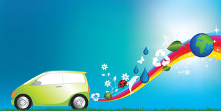 Eco friendly car. Illustration of an environmentally freindly green car Stock Images