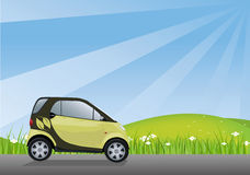 Eco-friendly Car. Driving in a clean environment Royalty Free Stock Images