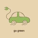 Eco friendly car doodle drawing Stock Image