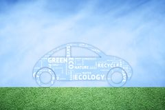 Eco friendly car icon with word cloud Royalty Free Stock Photography