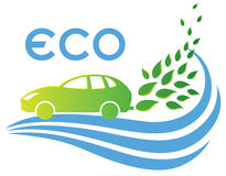 Eco Friendly car. An eco friendly car logo with green leaves, zero emissions royalty free illustration