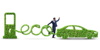 The eco friendly car powered by alternative energy. Eco friendly car powered by alternative energy stock images