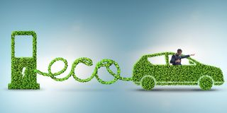 The eco friendly car powered by alternative energy. Eco friendly car powered by alternative energy royalty free stock photo