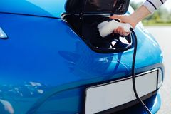 Close up of an electric car charger Royalty Free Stock Photos