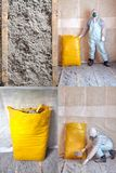 Eco-friendly cellulose insulation made from recycled paper Set of four photos. Eco-friendly cellulose insulation made from recycled paper for building stock image