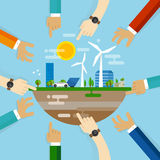 Eco friendly city development planning together collaboration with community on managing livable sustainable world. Vector stock illustration