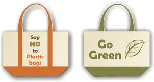 Eco-friendly cloth bag. Vector illustration of eco-friendly bags made from cloth with message on it Stock Photo
