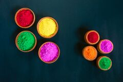 Free Eco-friendly Colorful Holi Powder Or Gulal In Earthen Bowl On Black Background Royalty Free Stock Image - 213646486