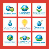 Eco Friendly Company Logos. An illustrated set of various eco-friendly company logos, isolated on red background Stock Photo