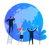 Eco-friendly company. planet earth as environment symbol. take care of ecology protection by business. business man Stock Photo