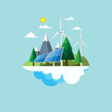 Eco friendly concept flat design. Eco friendly and nature landscape concept flat design with renewable energy and environment conservation concept design.Vector Stock Photo