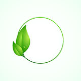Eco friendly concept, green round frame with leaves. Vector illustration Stock Photos