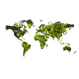 Eco friendly concept with map of the world. Environment concept (Eco-friendly) with map of the world textured with green leaves isolated on white background Stock Image