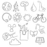 Eco friendly concept vector illustration, hand drawing of icon of bicycle, planet earth, globe, sun, bag,flower,water. Fire,pollution vector Royalty Free Stock Photography