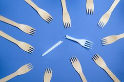 Say No to Plastic Cutlery, Plastic Pollution Concept, Top View royalty free stock photography