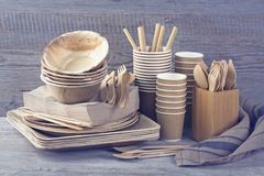 Eco friendly disposable tableware stock photography