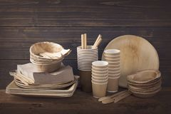 Eco friendly disposable tableware royalty free stock photo