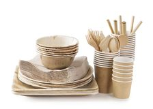 Eco friendly disposable tableware stock images