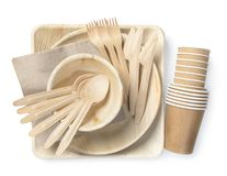 Eco friendly disposable tableware stock photos