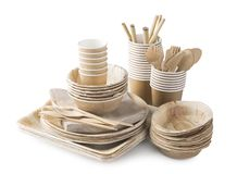 Eco friendly disposable tableware royalty free stock photography