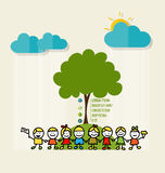 ECO FRIENDLY. Ecology concept with Cute children and tree. Vecto Stock Image